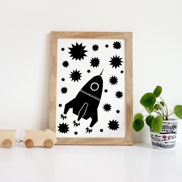 Rocket Nursery Print  kids nursery art, typography print for nursery  Colourful art for children's rooms and nurseries. Great gifts for new babies and toddlers for their nursery and kids room decor.
