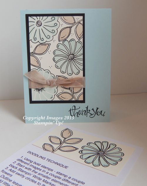 2015 NEW Doodling Technique Card  This card uses the NEW GARDEN IN BLOOM 2-step stamp set.Garden In Bloom Photopolymer Stamp Set139433 Price: $25.00