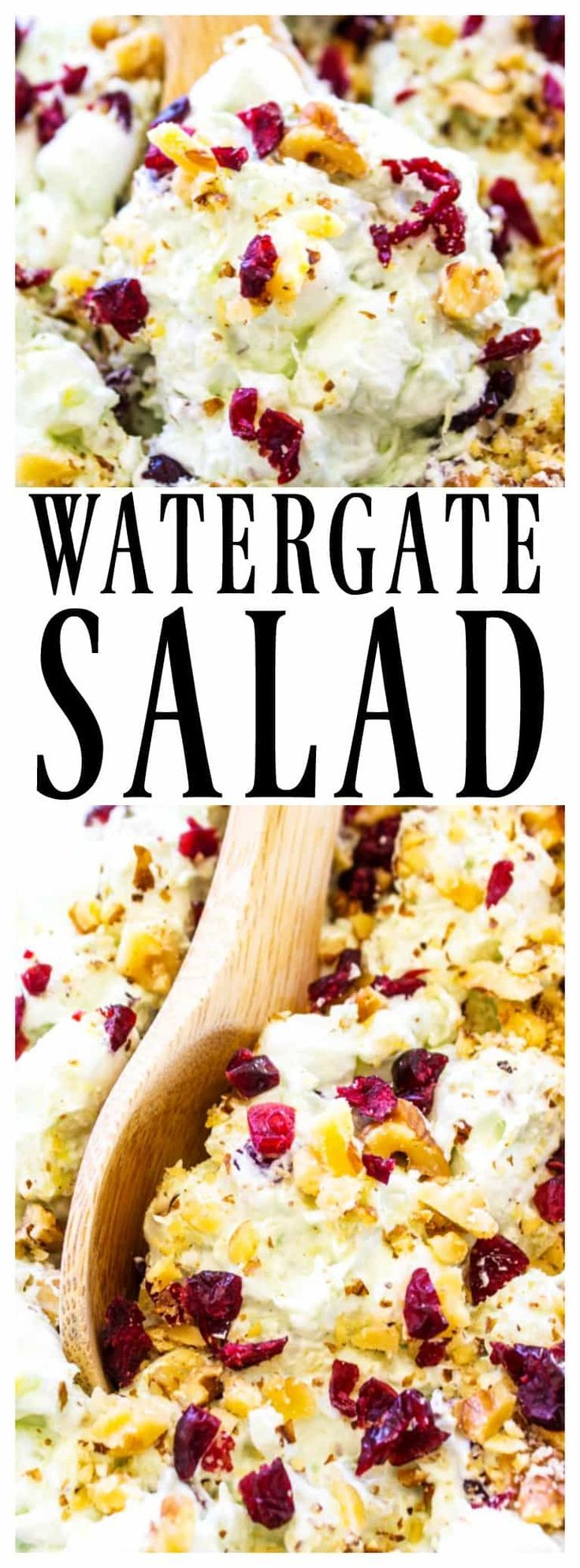 WATERGATE SALAD - A classic & traditional holiday side dish that everyone loves. Made with Cool Whip, marshmallows, pistachio pudding and pineapple, it's deliciously easy. #christmas #recipes #holidays #sidedish #watergatesalad #salad #recipeideas #holidayrecipes