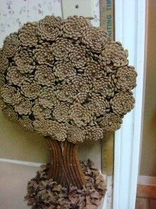 Handmade FLT Pine Cone Artsy Tree Craft Wooden Pine Cone Tree Art in Collectibles, Holiday & Seasonal, Christmas Current (1991-Now)