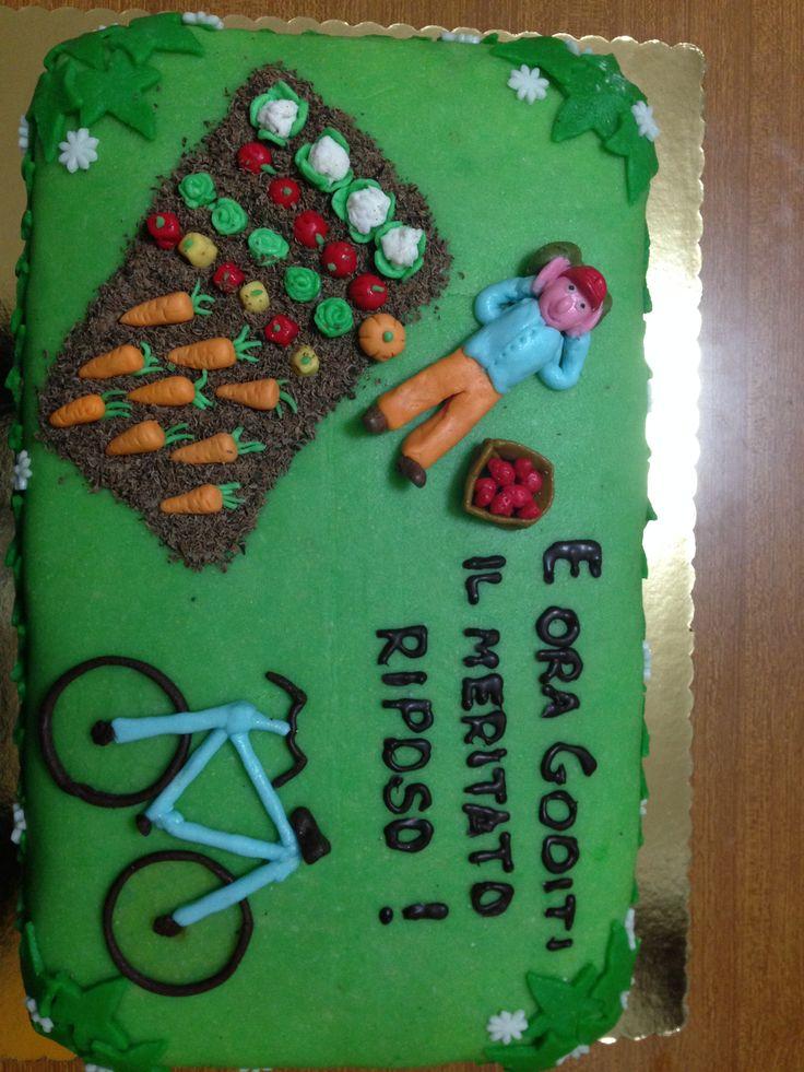 Torta pensione - Retirement cake Pdz, pasta di mandorla