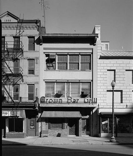 www.cashforoffer.com  Crown Bar and Grill, 1005 E Street, NW (Henry J. Blauvelt, 1906, demolished 1996 w/facade preserved) ca. 1988.  The crew gutting this building solved a 30 year old mystery in 1996:  Washington Post -