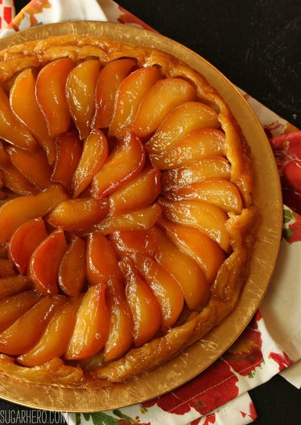 Pear Tarte Tatin - caramelized pears in puff pastry | From SugarHero.com