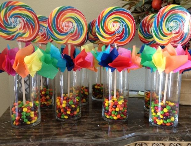 Good CANDY~Rainbow Candy Centerpiece Used For The Party Tables.