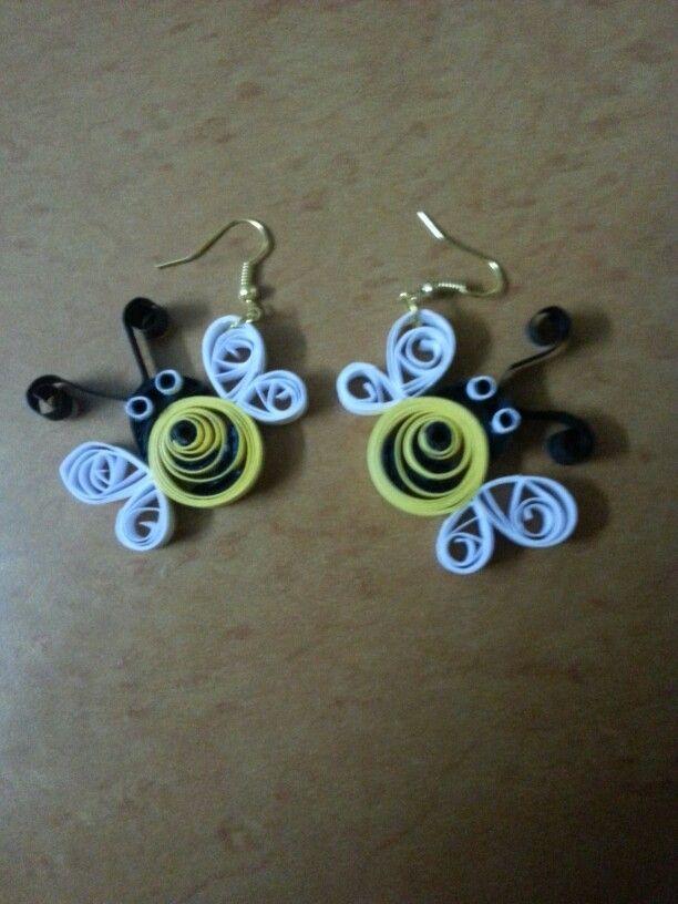 Quilling bee earrings