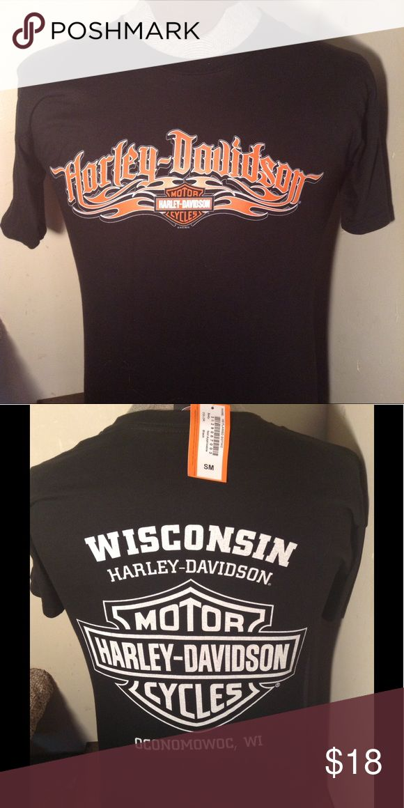 """NWT WISCONSIN HARLEY TEE SHIRT New with tags. Harley Davidson dealer tee shirt. Great HD tribal logo on front and Wisconsin Harley dealer logo on back. Made by Harley Davidson. This'll is a men's size S Small or for women also. Search TT Harley to see all of our Harley items to bundle and save.   Any 2 HD shirts. - subtract $2 from total Any 3 HD shirts - subtract $5 from total Any 4 HD shirts - subtract $7 from total Any 5 HD shirts. -"""" subtract $10 from total Harley-Davidson Shirts Tees…"""