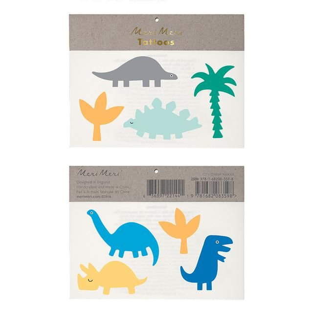 These cute tattoos come with a Jurassic theme, featuring a collection of favourite dinosaurs in bright colors.  Pack contains 2 sheets of temporary tattoos. Sheet size: 12,7 x 12,7 cm
