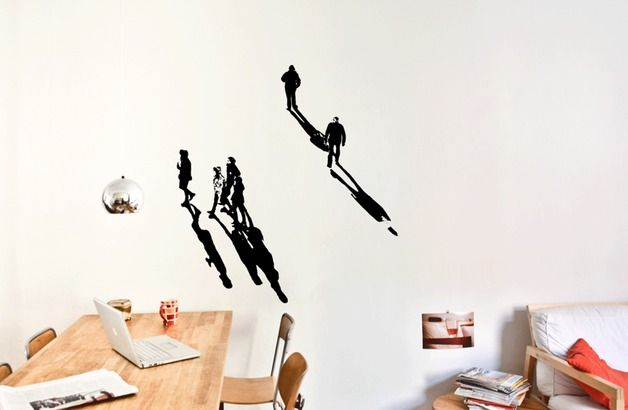 schatten werfen menschen xl wall art wandtattoo. Black Bedroom Furniture Sets. Home Design Ideas