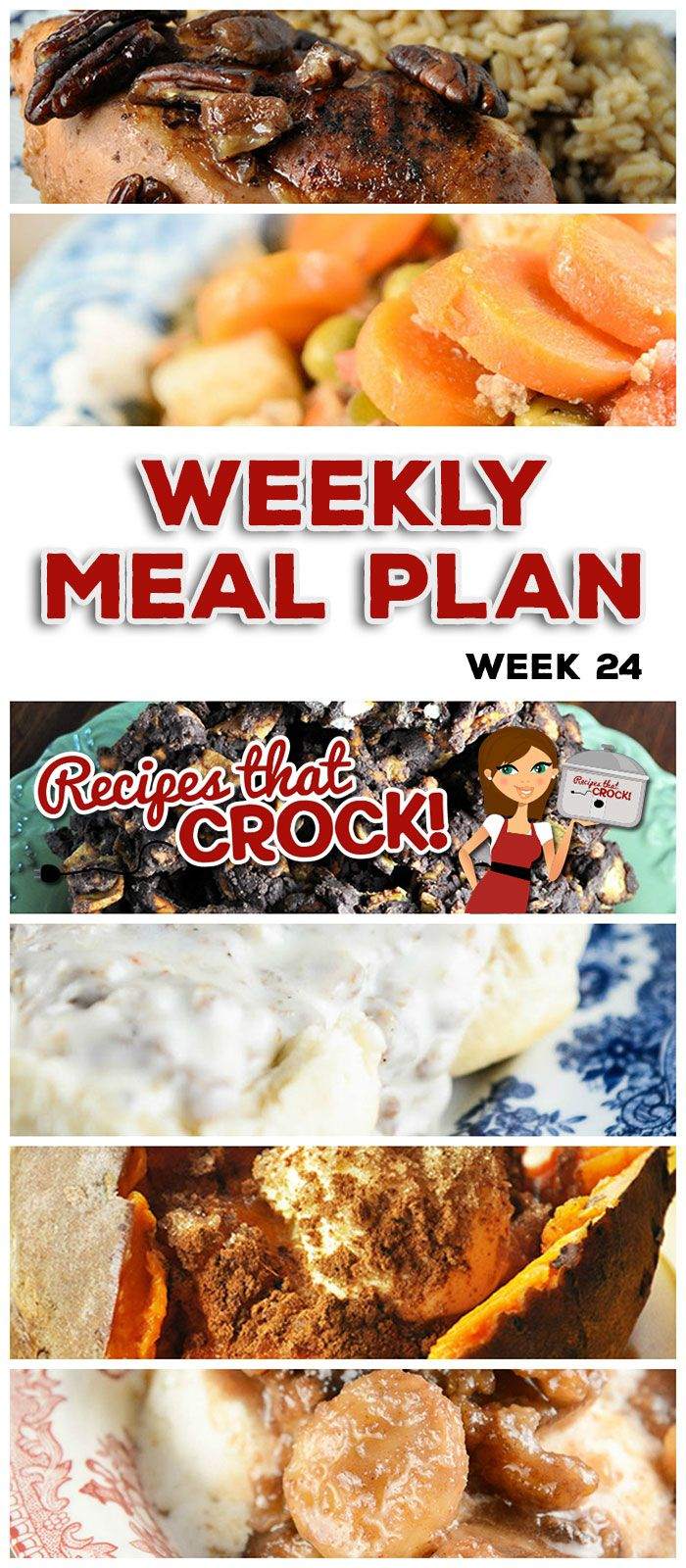 This week's weekly menu features Slow Cooker Sausage Gravy, Crock Pot Rumchata Banana Foster, Crock Pot Maple Praline Chicken, Crock Pot Sweet Potatoes, Easy Crock Pot Teriyaki Beef, Crock Pot Italian (Bake Goods Crock Pot)