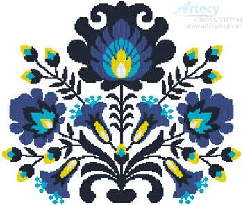 Polish Folk Art Blue - cross stitch pattern designed by Tereena Clarke. Category: Flowers.