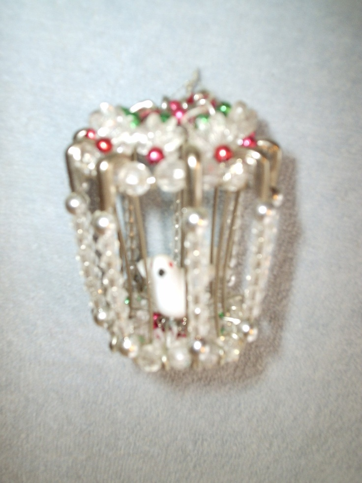 Charming Handmade Pearl And Safety Pin Birdcage Ornament