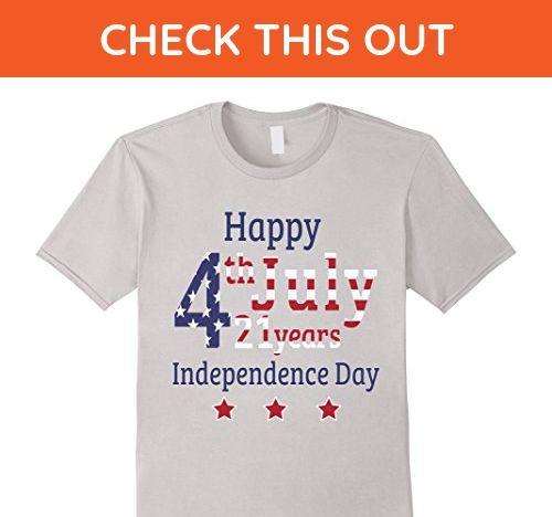 Mens Happy Independence Day USA T-shirt July 4th Medium Silver - Holiday and seasonal shirts (*Amazon Partner-Link)
