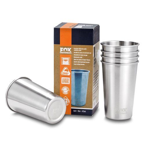 Fox Outfitters 16oz Stainless Steel Pint Cups (Pack of 5) *** ADDITIONAL INFO @ http://www.buyoutdoorgadgets.com/fox-outfitters-16oz-stainless-steel-pint-cups-pack-of-5/?a=5799