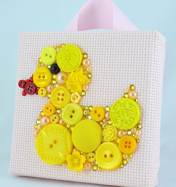 Yellow Duckie  Button Art Vintage Buttons by PaintedWithButtons