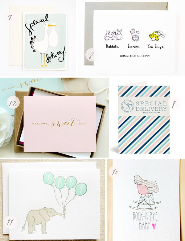 Stationery A – Z: New Baby Cards | 7. Rocket Ink; 8. Wild Ink Press; 9. Snow & Graham; 10. Hartland Brooklyn; 11. Parrott Design Studio; 12. Kimberly FitzSimons | Click through for full links and resources!