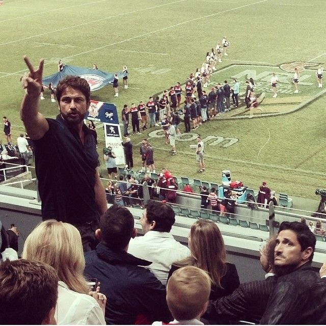 Gerry at a Rugby game  (28/03/14) #sydneyroosters Vs #seaeagles #gerardbutler #gerrybutler #fanphoto #sydney #australia