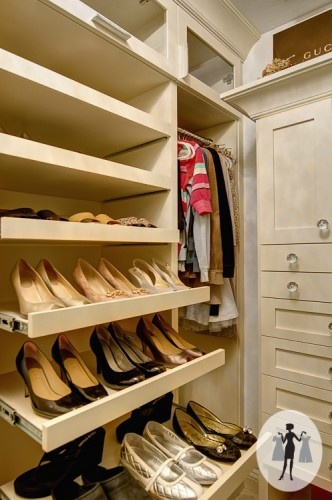 Closet Design .:. Storage Solutions. pull our shelves for shoes. yes! yes! yes!
