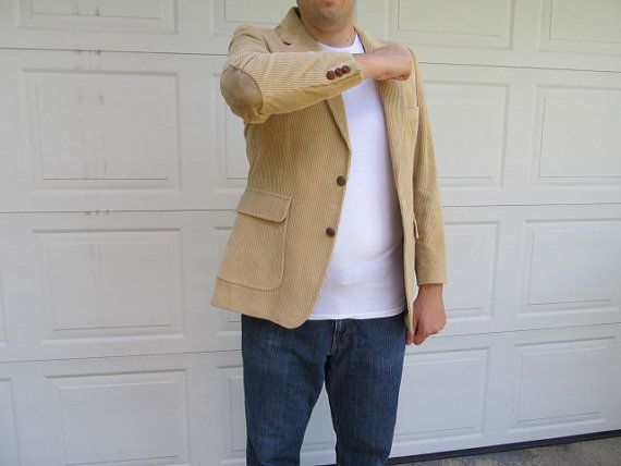 hipster casual cool men's corduroy jacket with suede elbow patches $38.00