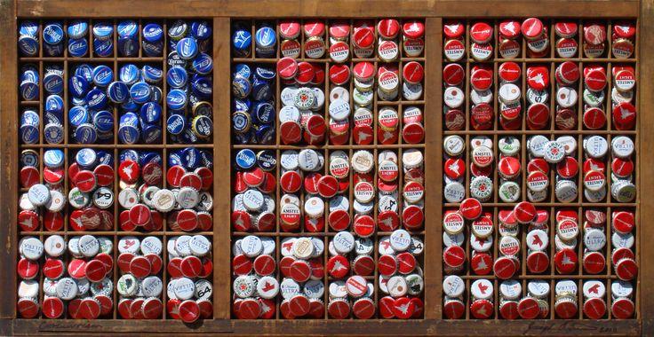 """""""Consumerism"""" Bottle cap art"""