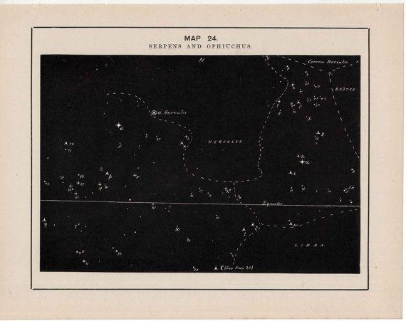 1891 serpens & ophiuchus constellation by antiqueprintstore, $15.50