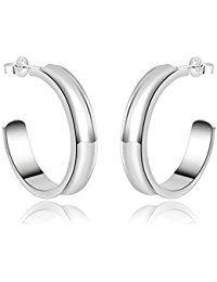 nykkola Jewelry–Pendientes de plata de ley 925Elegante Chapado Pulido Aro Pendientes De Tuerca para mujeres Lady Niñas