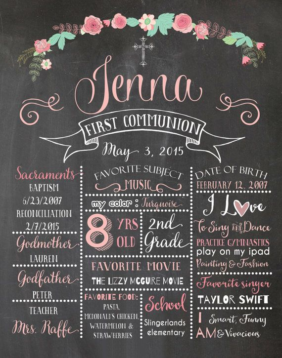 Chalkboard poster. Baptism poster. First by AlapipetuaDesign