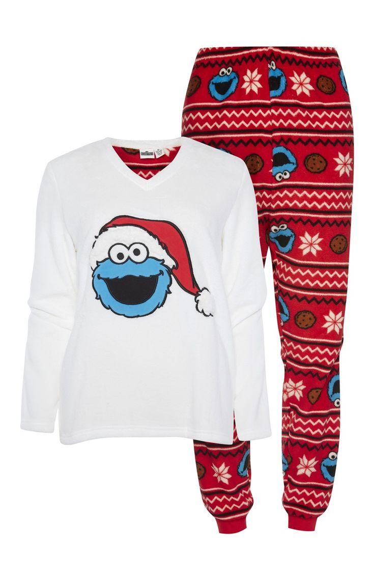 Primark - Pyjamaset Cookie Monster in kerstsfeer