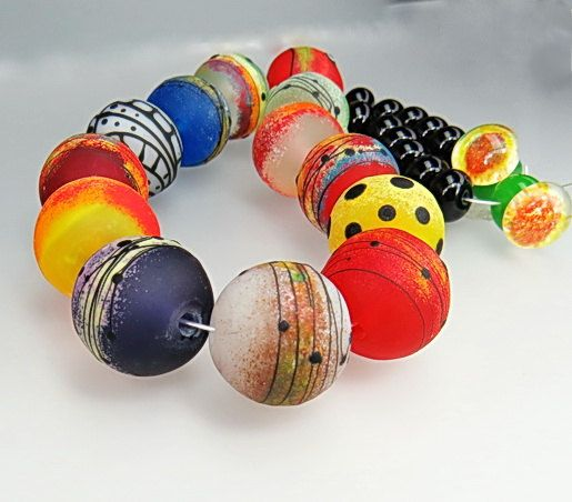 set of big round flourescent etched lampwork glass beads by milica bubanja sra