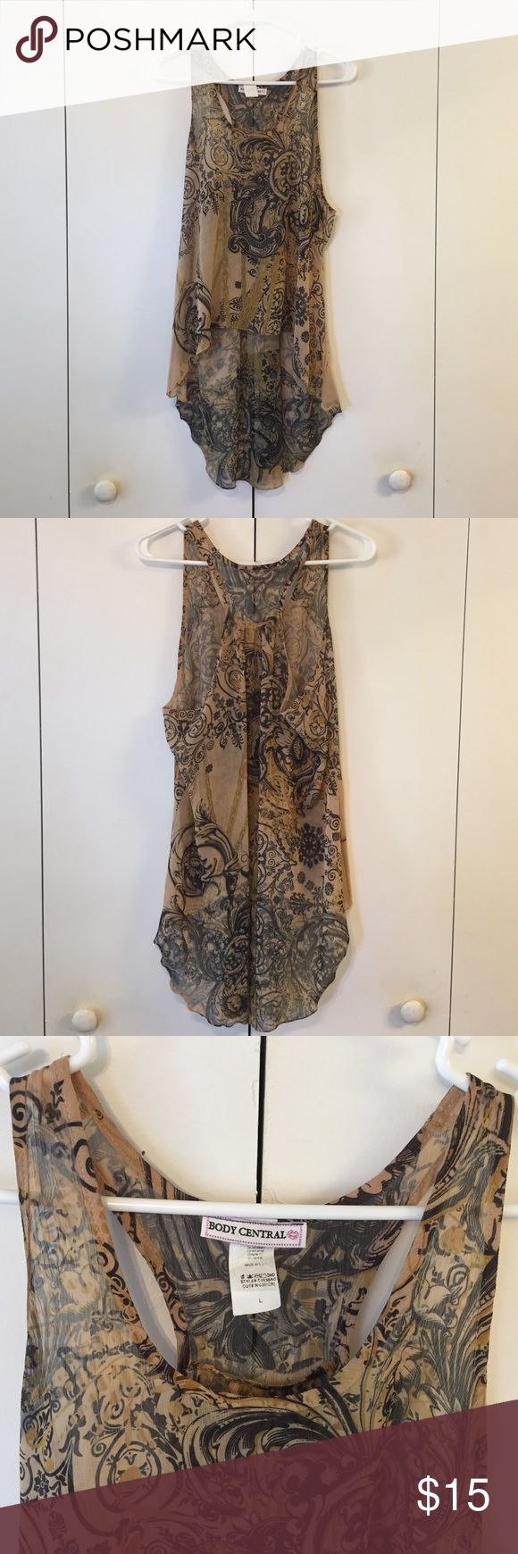 Asymmetrical sleeves top beautiful sleeves slightly sheer top with asymmetrical bottom ( longer in the back than the front ) earthy tan and olive tones with black paisley style print. I absolutely love this top and have been holding on to it , but unfortunately, it does not accommodate the twins if you know what I mean ladies!! Time to let go!!! 😩 Tops Tunics