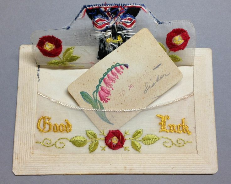 """WW1 Silk Postcard """"Good Luck"""" black cat with roses and insert """"To my sister"""""""