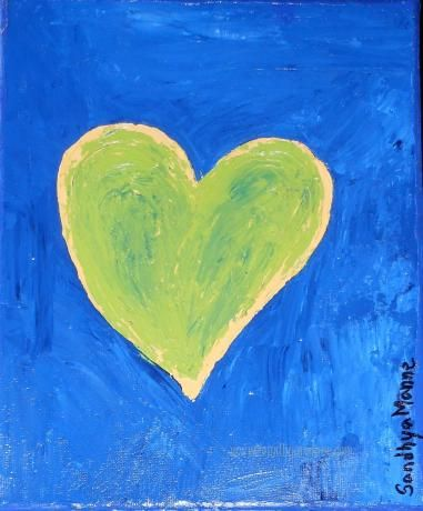 """Yours"""" is an  artwork of  a Heart inside a Heart... The art is a part of the """"Hearts"""" series, done on Canvas and has textures hearts.   """"Yours"""" has green on yellow Heart on a dark blue background."""