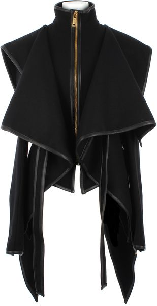 Virgin Wool and Lambskin Asymmetrical Jacket - Lyst