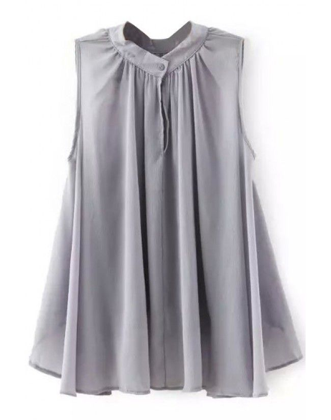 LUCLUC Grey One Button Sleeveless Chiffon Blouse - LUCLUC