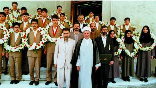 Iranian mathematician Maryam Mirzakhani (3rd girl from right) & other Iranian students take photo with former late president, Akbar Hashemi Rafsanjani before departing for 1995 Math Olympiad in Canada  http://ifpnews.com/exclusive/iran-math-genius-die-cancer/