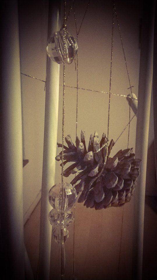 DIY xmas tree  pinecones, crystals and gold thread
