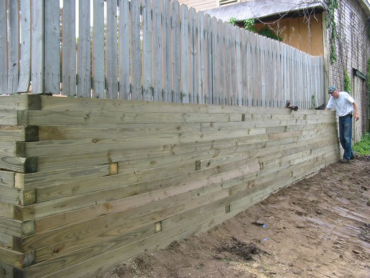 Retaining 6x6 Landscape Timbers Backyard Regrading