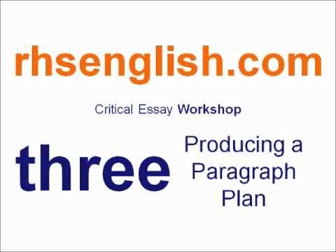 Higher English Critical Essay Workshop - Three: Producing a Paragraph Plan