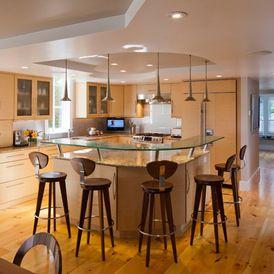 White Galley Kitchen With Breakfast Bar