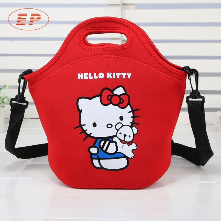 The childrens lunch bag with shoulder strap, itis convenient to transport. It has pink and cute appearance, Hello kitty is printed on its surface. Its material is eco-friendly neoprene, it is portableand durable. It is suitable for girls.  It can keep yourfood cold (or warm )for up to 4h, it can be used as lunch bag,