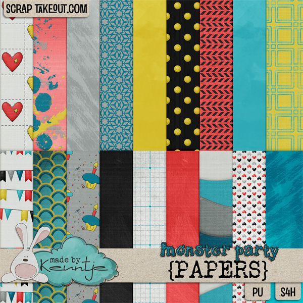 Monster Party papers http://scraptakeout.com/shoppe/-Made-By-Keuntje/
