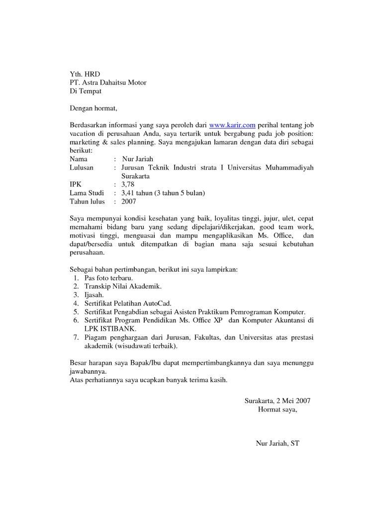 Contoh Surat Lamaran Kerja Fresh Graduate 1