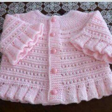 pink ruffled knit sweater