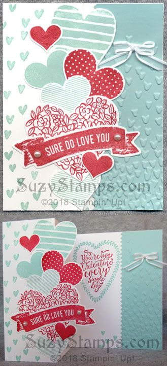 Stampin' Up! Love Themed Cards, Valentine's Day - 2018-01 Class - Sure Do Love You and Heart Happiness stamp sets, Lots to Love Box Framelits Dies, Falling Petals Embossing Folder, and Sweet & Sassy Framelits Dies