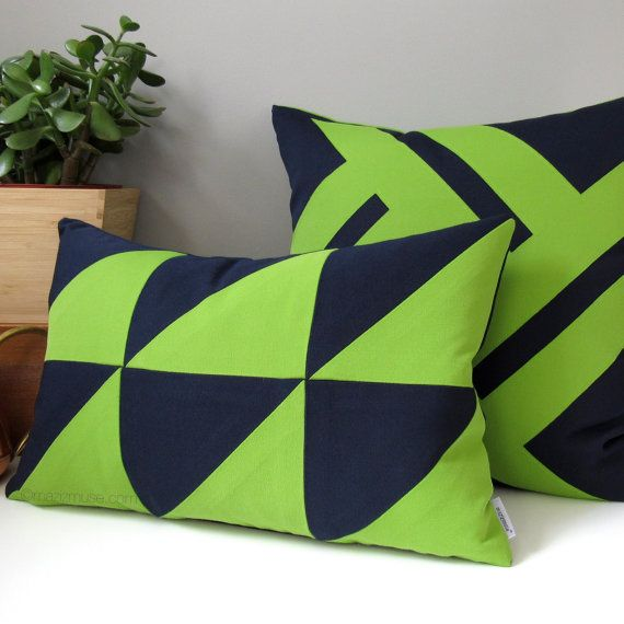 Navy Blue Lime Green Geometric Pillow Cover Modern Outdoor Throw