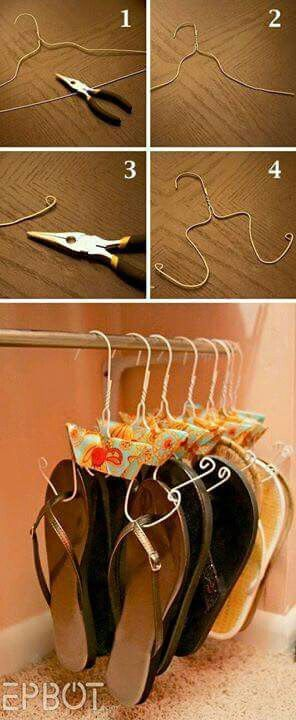 BEST IDEA EVER!!! Wire hangers to keep flip flops together and off the floor (or basket at the front door)