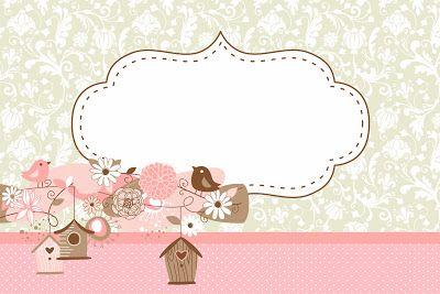 Passarinhos e Flores – Kit Completo com molduras para convites, rótulos para guloseimas, lembrancinhas e imagens! |