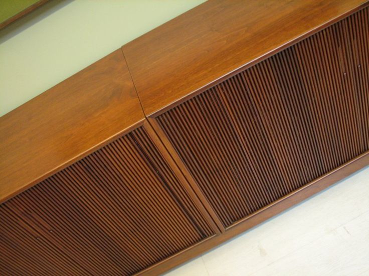 Mid Century Modern Credenza   Extra Long Cabinet With Bar   Media Storage