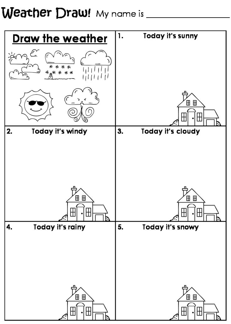 Scribble Drawing Exercise : Draw the weather worksheet teaching