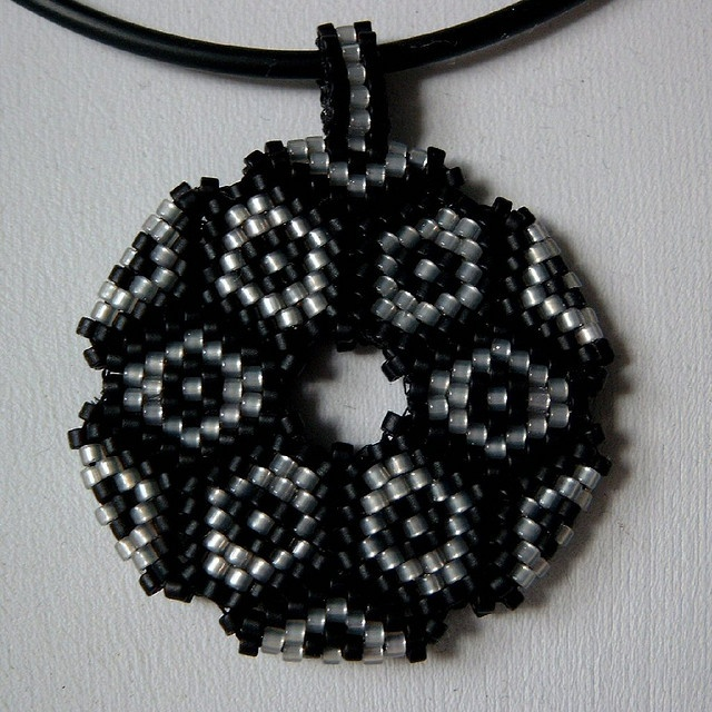 Donut Pendant black by anneperle, via Flickr