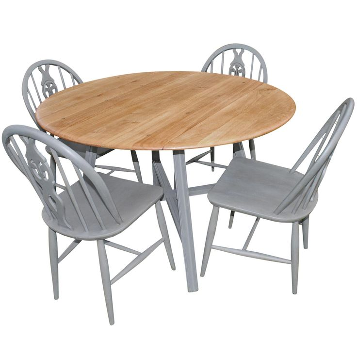 Vintage Ercol Oval Dining Set with Four Fleur De Lys chairs